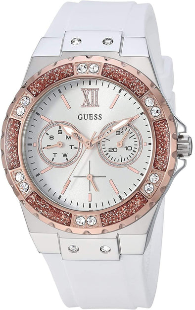 GUESS Watch Women's Stainless Steel + Stain Resistant Silicone Watch with Day + Date Functions