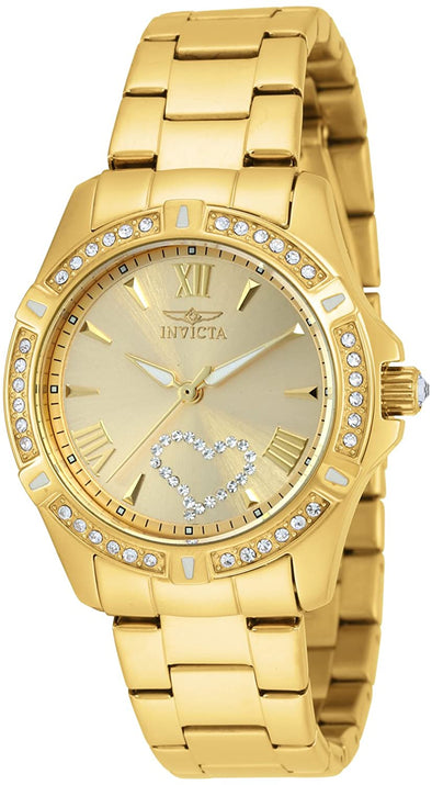Invicta Watch Women's 21384 Angel Crystal-Accented 18k Gold Ion-Plated Stainless Steel Watch