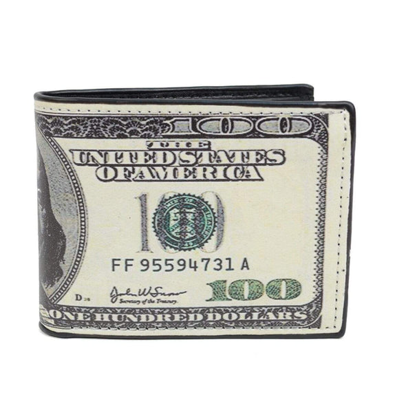 Bi-Fold $100 Dollars Bill Printed Leather Men's Wallet - Sixbows.com