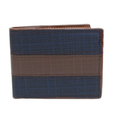 Bi-Fold Leather Navy & Brown Men's Wallet - Sixbows.com