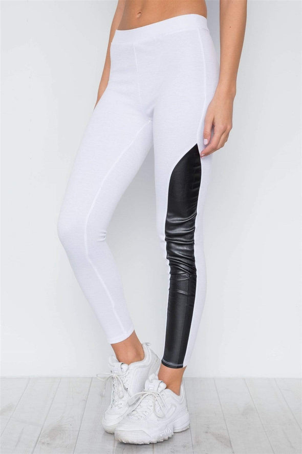 Faux Leather Sides Mid-rise Leggings - Sixbows.com
