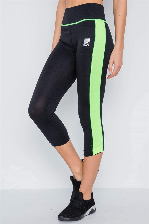High Rise Green/Black Active Leggings - Sixbows.com