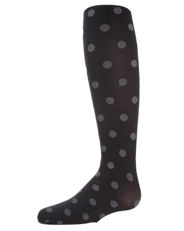 Girls Black Polka Spot Opaque Tights - Sixbows.com