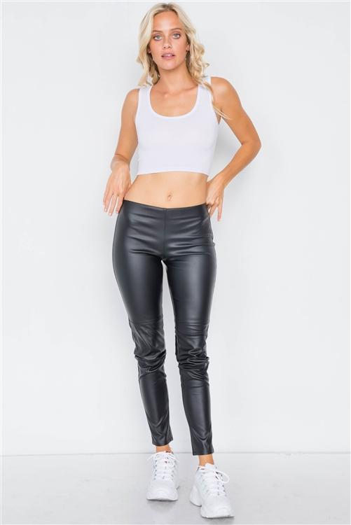 Black Mock Leather Ankle Leggings - Sixbows.com