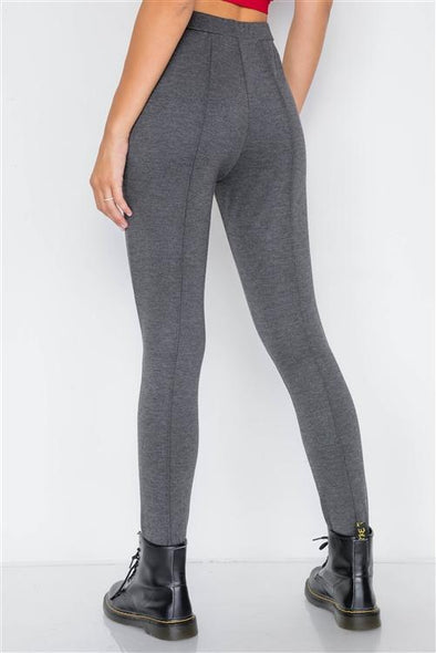 Heather Charcoal Thick Knit Leggings Pant - Sixbows.com