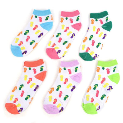 6 Pk Flip Flops Pattern Low Cut Socks - Sixbows.com
