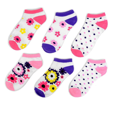 6 PK Multi Color Flower Low Cut Socks - Sixbows.com