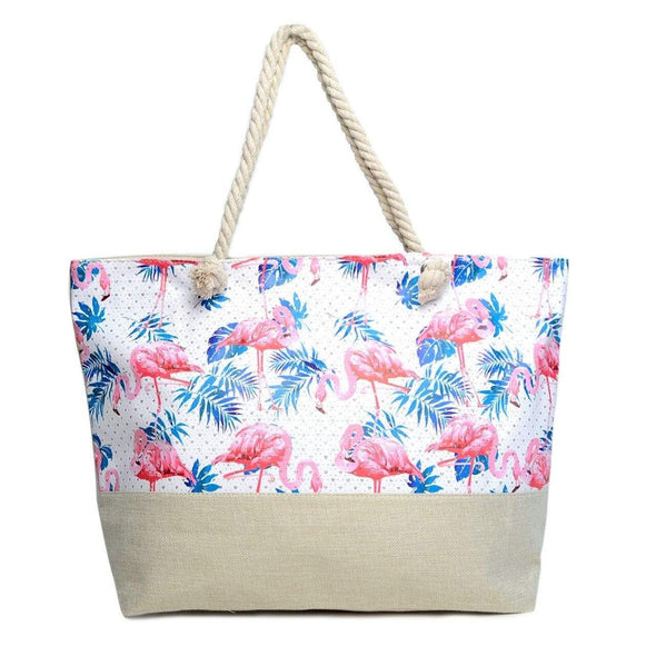 Flamingo & Palm Leaves Tote Bag - Sixbows.com