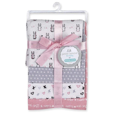 4-PACK FLANNEL RECEIVING BLANKETS - BUNNIES - Sixbows.com