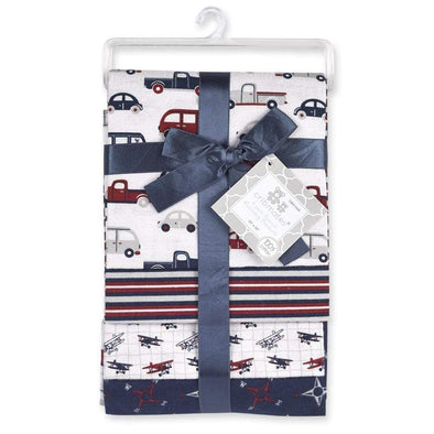 4-PACK FLANNEL RECEIVING BLANKETS - CARS - Sixbows.com