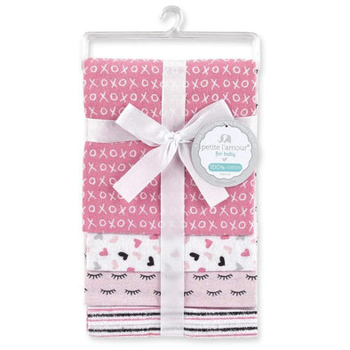 4 PACK FLANNEL RECEIVING BLANKETS - HEARTS - Sixbows.com