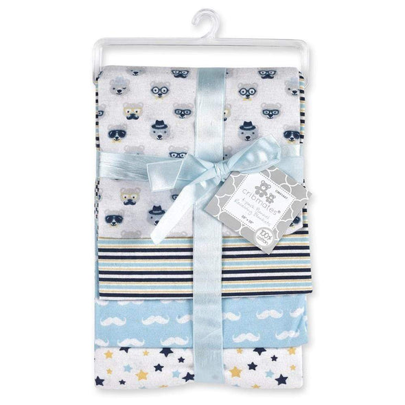 4-PACK FLANNEL RECEIVING BLANKETS - MUSTACHE - Sixbows.com