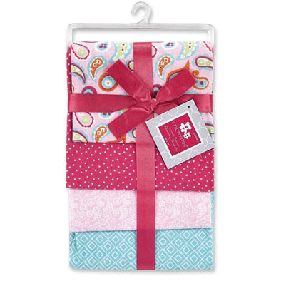 4 PACK FLANNEL RECEIVING BLANKETS - PINK PAISLEY - Sixbows.com