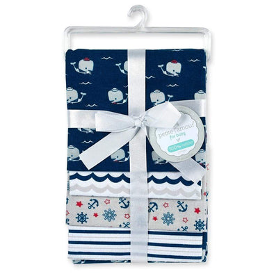 4-PACK FLANNEL RECEIVING BLANKETS  - WHALES - Sixbows.com