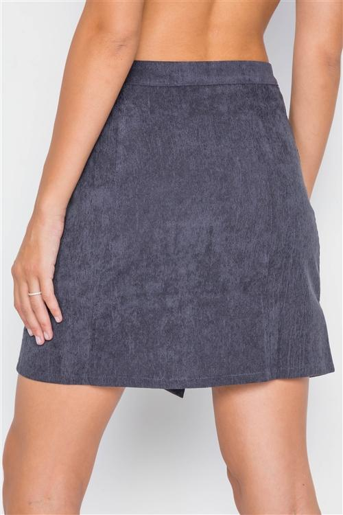 Navy Corduroy Scallop Front Mini Skirt - Sixbows.com