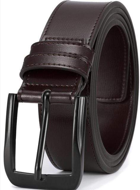 Men Genuine Leather Dress Belt With Single Prong Buckle Fashion Classice Pin Buckle Men Belt - Sixbows.com