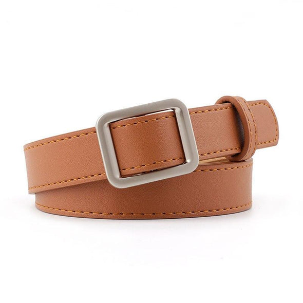 Ladies Belt Solid For Dress Jeans Waistband Women's Faux Leather Belts Metal Square Buckle Belt Waist Strap - Sixbows.com