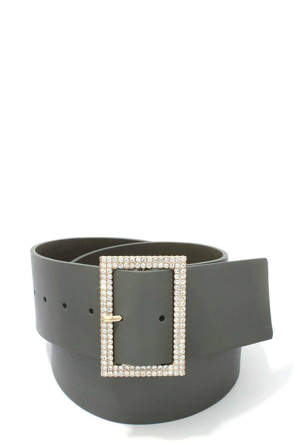 Rhinestone Buckle Leather Belt - Sixbows.com