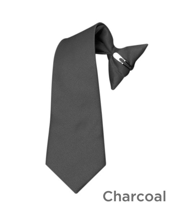 Boy's Charcoal Poly Solid Clip On Tie - Sixbows.com