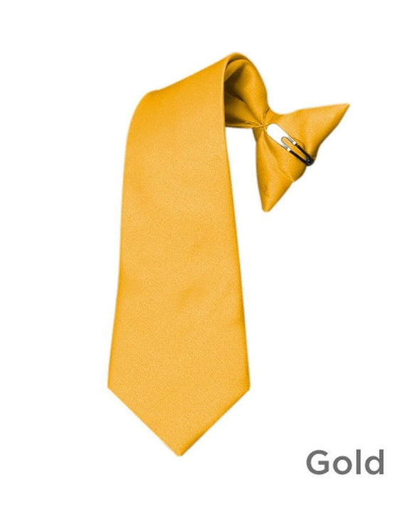 Boy's Gold Poly Solid Clip On Tie - Sixbows.com
