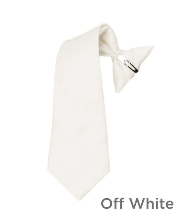 Boy's Off White Poly Solid Clip On Tie - Sixbows.com
