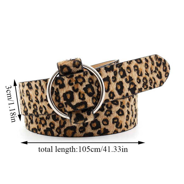 women fashion Leopard Snake Bucke Belt For women Leather Silver Ring Buckle Belts for Ladies Female Waist Belts high quality - Sixbows.com
