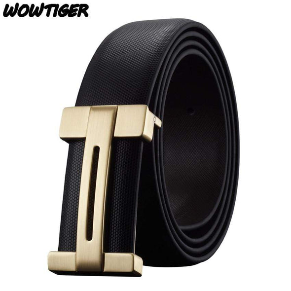 WOWTIGER Men's belt luxury Genuine leather Famous brand Smooth buckle belt length can be adjusted fashion belts for men - Sixbows.com
