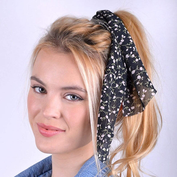 Floral Scrunchies Ribbon Hair Tie - Sixbows.com
