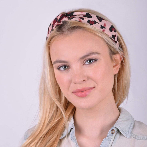 Ladies Pink Cheetah Print Headband - Sixbows.com