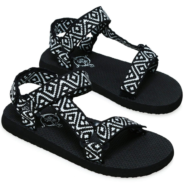 ladies black & white river sandals - Sixbows.com