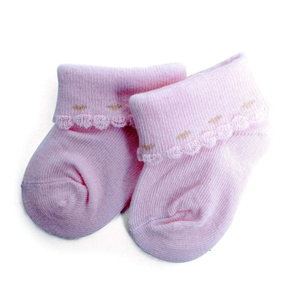 Solid Color Babies' Socks with Scallop Edging - Sixbows.com