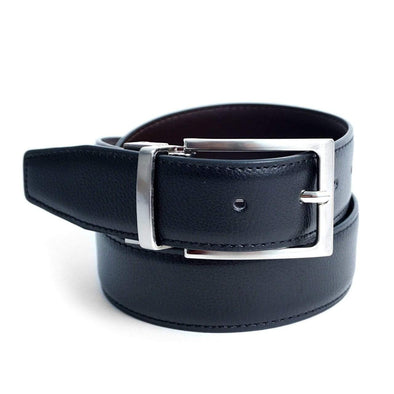 Reversible Genuine Leather Belt with Rotated Buckle - Sixbows.com