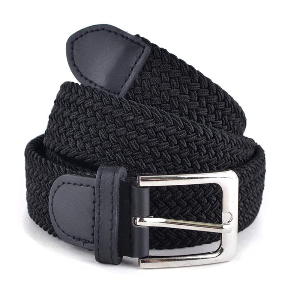 Men's Black Stretch Braided Woven Belts - Sixbows.com