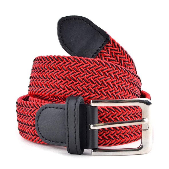 Men's Red & Black Braided Elastic Belts - Sixbows.com