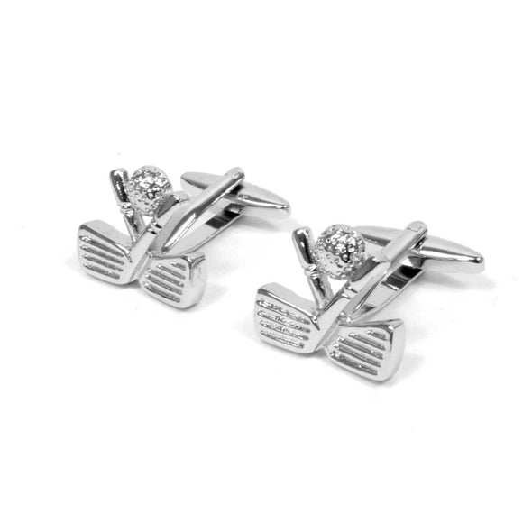 "Silver-tone ""Golf"" Brass Cufflinks - Sixbows.com"