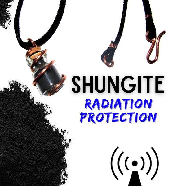 Shungite & Copper- Pendant on Suede Cord