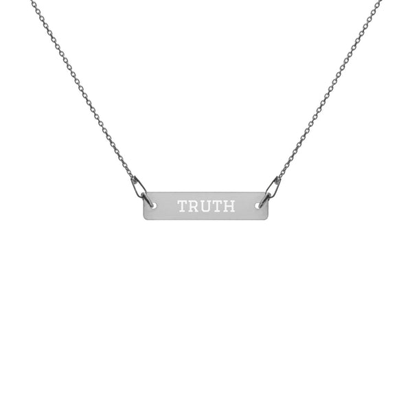 """Truth"" Engraved Silver Bar Chain Necklace"