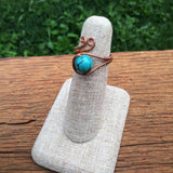 Turquoise & Copper Wire wrapped Ring
