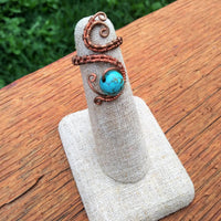 Wire-wrapped Copper & Turquoise Ring