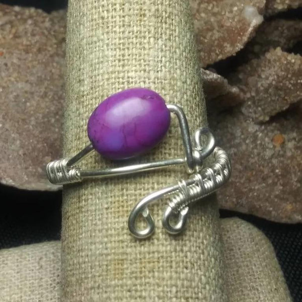 Purple Kingman Turquoise & Sterling Silver Ring, Wire-wrapped