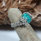 Sterling Silver & Turquoise Wire-wrapped Ring, size 7