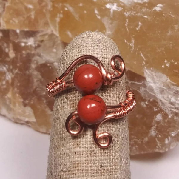 Red Jasper & Copper Ring, Wire-wrapped gemstone jewelry
