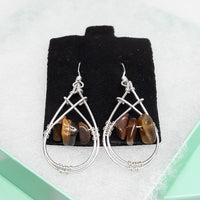 Tiger's Eye Earrings & Ring Set, Wire-wrapped Sterling Silver