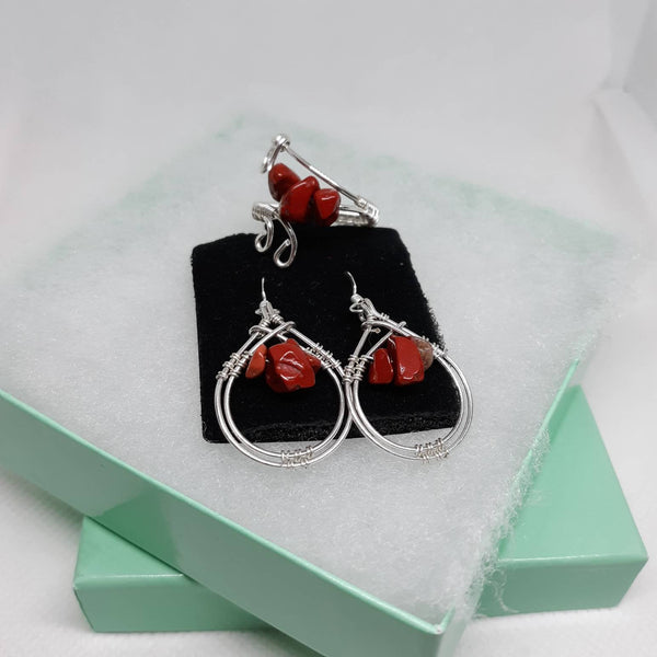 Red Jasper Earrings & Ring Set, Wire-wrapped Sterling Silver