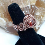 Pink Tourmaline (Emerald Cut) Ring, Wire-wrapped Copper, Size 5