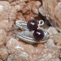 Sterling Silver or Copper Gemstone Ring. Wire wrapped Crystal Jewelry