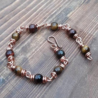 Chain Crystal Gemstone Bracelet, Birthstone Copper Jewelry,