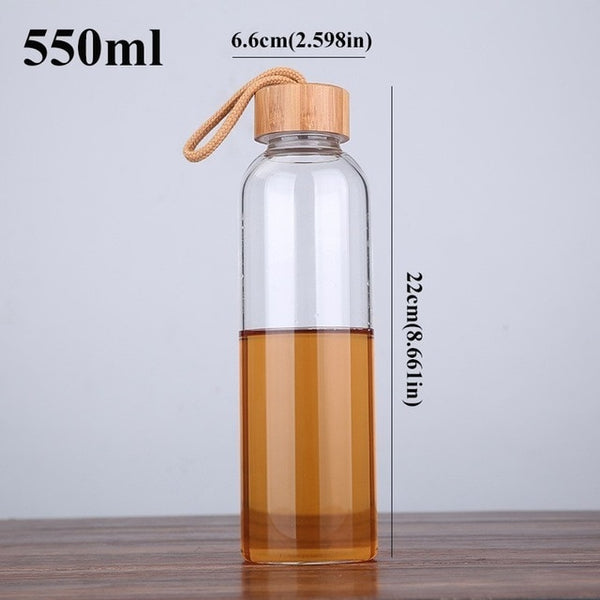Glass Water Bottle With Bamboo Top - 18 oz