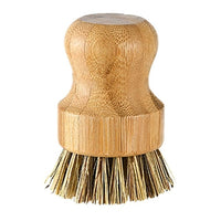 Bamboo Round Mini Scrub Brush Natural Scrub,Wash Dishes Pots Pans and Vegetables