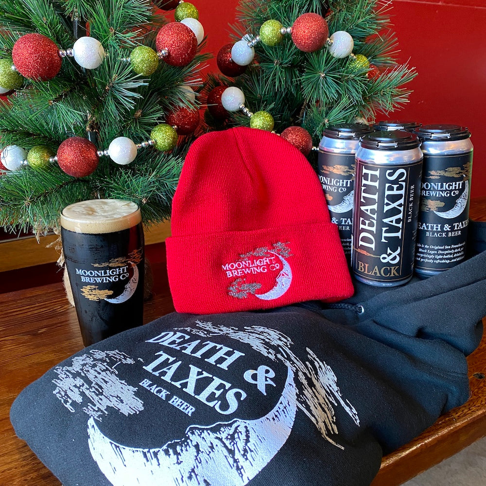 Death & Taxes gift basket with 4-pack, hoodie and beanie